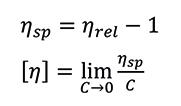 specific viscosity and intrinsic viscosity formulas