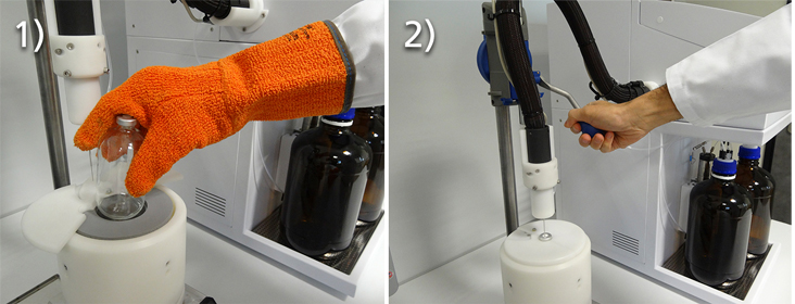 Two images showing the process of injecting a sample in GPC-QC and CRYSTEX QC. Left: hand with glove removing the previous bottle. Right: hand lowering the injection system and piercing the new bottle.