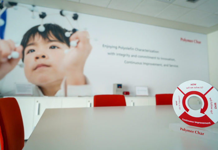 ziegler meeting room at polymer char with a continuous improvement totem as the focus