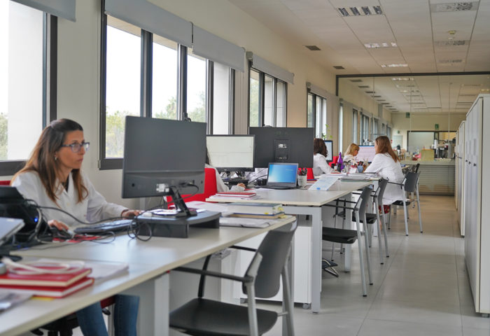 a line of desks in the analytical department that provides services to customers