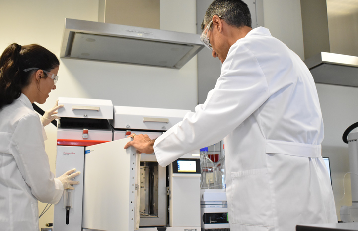 Two GPC analysts looking at the columns compartment of a Polymer Char GPC-IR instrument